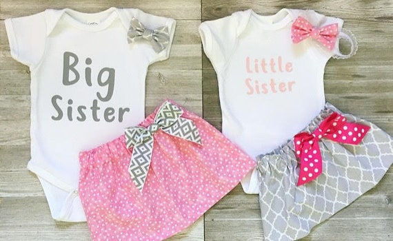 533ecf98433c3 Big sister little sister outfits, sister matching outfits, sisters matching  outfits, big sis little sis outfits, skirt, headband, T-shirt,