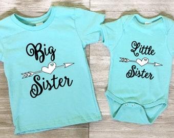 Big sister little sister shirts, sister matching t-shirts, sisters matching outfits, big sis little sis T-shirts, turquoise black white