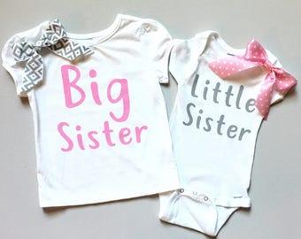 Big sister little sister shirts, sisters matching shirts big sis little sis pink and gray, girls' tops, siblings clothing, girls' clothing