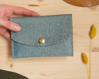 Brilliant blue braided leather passport pouch