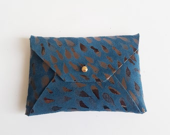 Purse or mini wallet in blue leather bright petals