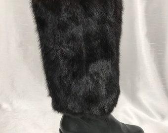 black leggings recycled fur leggings Black-dyed muskrat fur boot covers