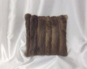 Green /& Brown Sheared Beaver FurGenuine Leather Pillow