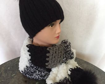 Set of winter hat and scarf