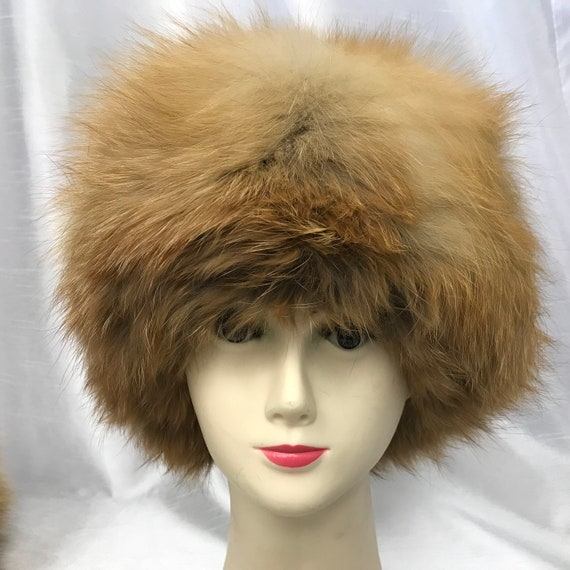 Vintage woman hat, red fox hat, real fur hat, wint