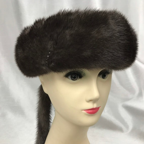Vintage dark grey mink band, fur headband, women's