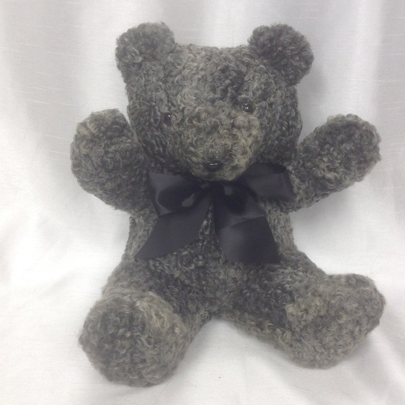 Grey teddy bear with sheep recycled fur 13 inches