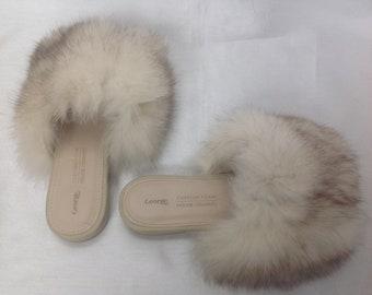 Beige sandals trimmed Norwegian fox, real fur, recycled fur, handmade, made Quebec