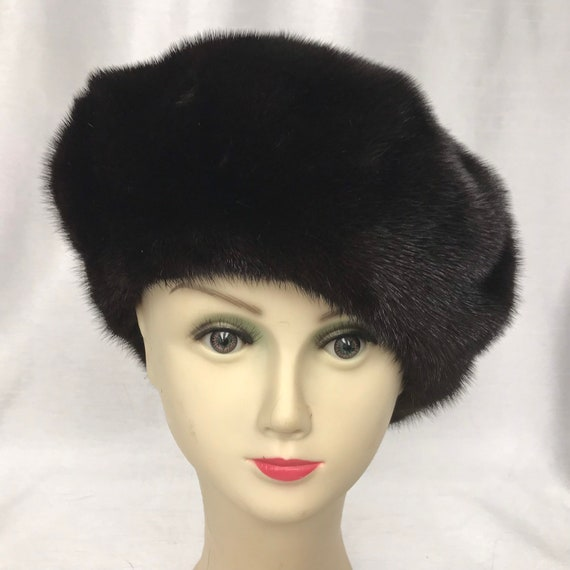 Vintage black mink beret style hat
