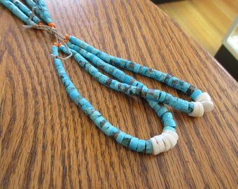 "Jockla  Turquoise Necklace & Drop (made of three strands) 17"" long"