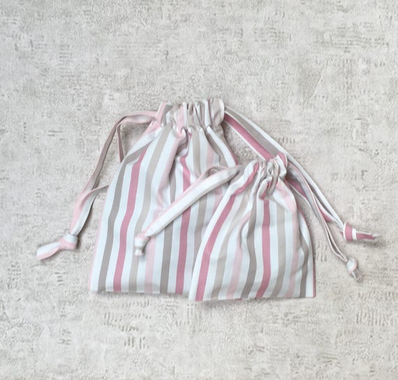 smallbags à rayures roses - 2 tailles - sacs coton réutilisables - zéro déchet