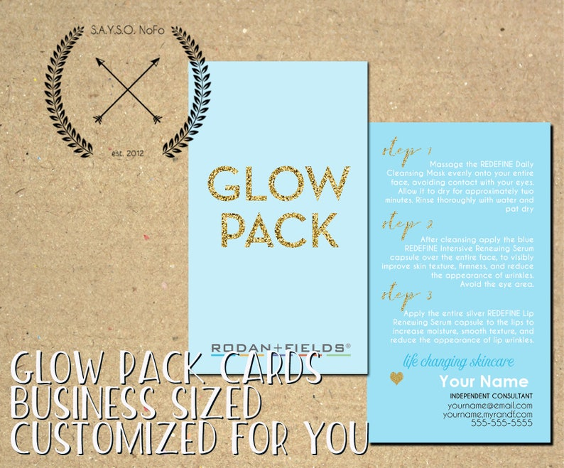 Rodan + Fields - GLOW PACK - mini facial - made to order business card -  business materials - marketing - REDEFINE regimen skincare