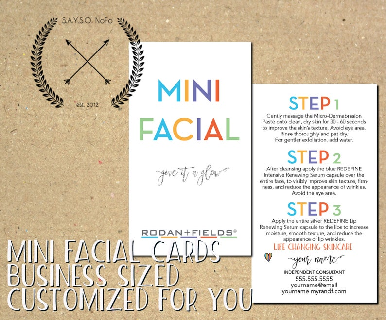 rodan + fields - made to order mini facial cards - business materials -  give it a glow - download - printable