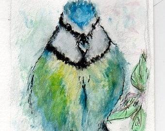 Bird on a Branch (Blue Tit)  - Postcard sized Original