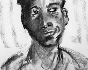 Portrait of a Young Man, Charcoal Drawing of Young Man, Male face Portrait, Expressive Facial Portrait, Smiling Charcoal Portrait