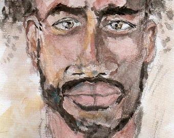 Portrait of a Handsome Man, Male face portrait, Male face print, Beautiful face painting, Male face watercolour, Man's face painting