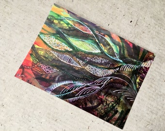 Art Postcard  'Leaves or Whales'