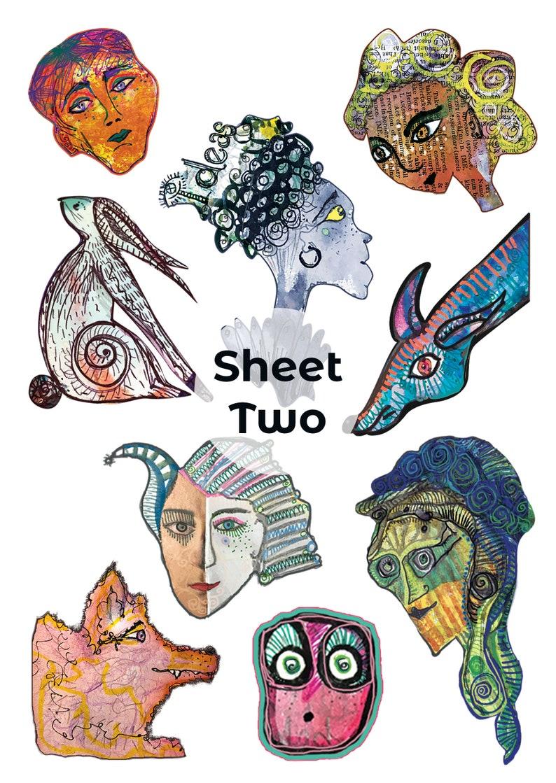 Sticker Sheet SET of Five Sheets  'Imaginary Friends & image 0