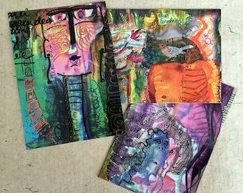 Set of 3 Art Postcards / Choose designs from listings