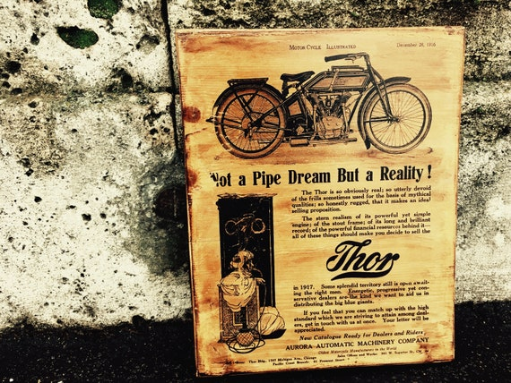 Vintage Thor V-Twin Motorcycle Sales Brochure Wooden Picture Wall Decor  Motorcycle Art