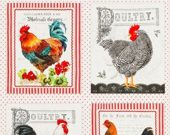 "Farm Vegetables Rooster Green Cotton Fabric QT Farmer/'s Market 24/""X44/"" Panel"
