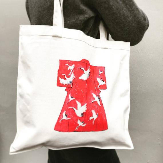 Tote Bag Dessin Kimono Japonais Sac Cabas En Coton Aquarelle Etsy