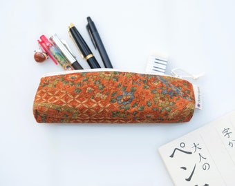 Pencil case, zipper pouch, Japanese fabric, stationery, kimono silk, orange and fall colors, floral pattern