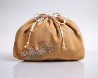Lingerie bag made from Japanese kimono silk, underwear purse for travel, drawstring laundry pouch, travel accessory.
