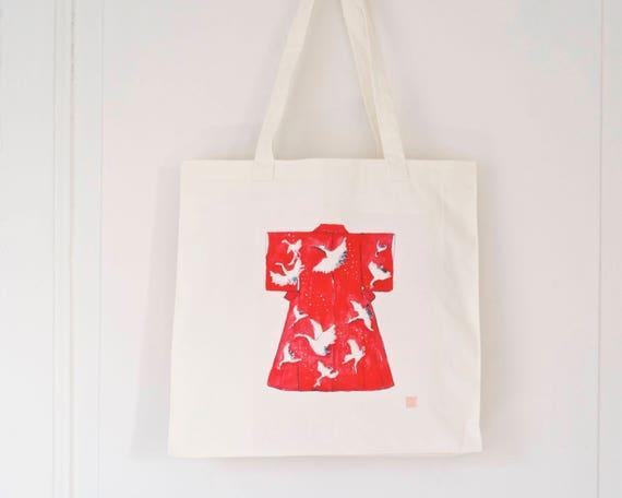Tote Bag Dessin Kimono Japonais Sac Cabas En Coton Aquarelle D Un