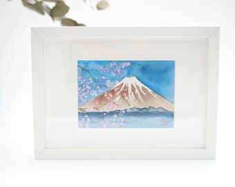 Original watercolor painting, Japan, Fuji-san with sakura, Fuji mount with cherry blossom, Spring landscape by Japanese artist
