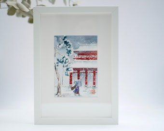 Original watercolor, Japan, painting landscape with snow, buddhist temple, by Japanese artist
