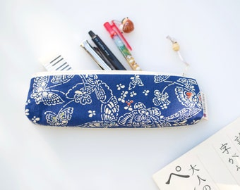 Pencil case, zipper pouch, Japanese fabric, stationery, kimono silk, blue with butterfly pattern and ivory zip