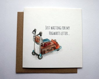 """Harry Potter inspired """"Just waiting for my Hogwarts letter"""" card  watercolour greetings card  5 ofr 4 on all cards: XMASPRESENT"""