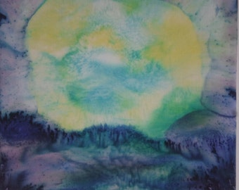 Silk painting Moon and Sea
