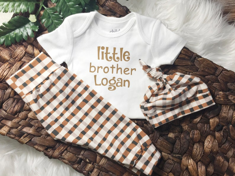 New Baby Gift 3 Piece Plaid Little Brother Set Hospital Outfit Coming Home Outfit Winter Personalized Take Home Outfit