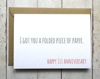 Funny First Anniversary card // 1st Anniversary // Card for Husband // Card for Wife // Anniversary card // Paper 1st Anniversary  //