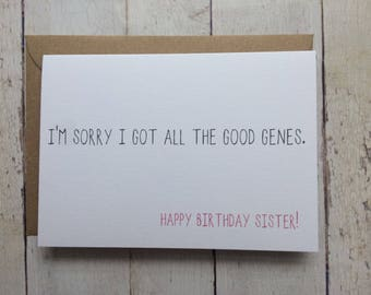 Funny Sister Birthday Card For Sisters Sibling Brother To