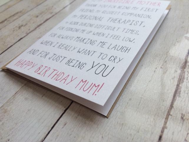 Birthday Card For Mum Funny Mum Birthday Card Mum Birthday