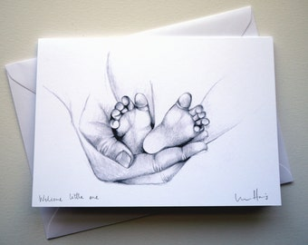 Handmade New baby card // Pencil drawing // New baby // Baby boy // Baby girl // New parents // New grandparents // Baby card //