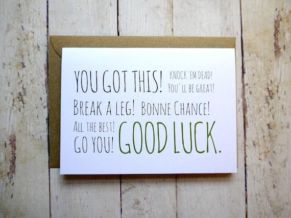 Good Luck Card New Job Card Exam Card Bonne Chance