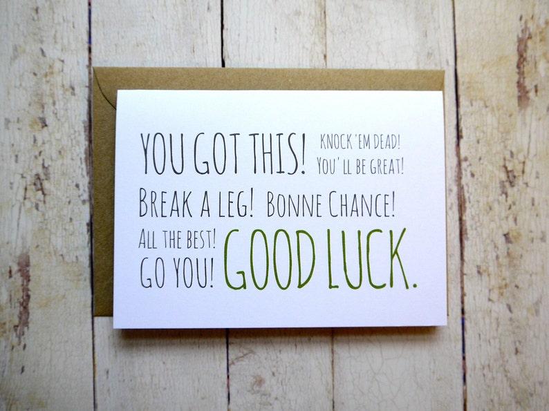 New job card Bonne chance Good luck card Exam card