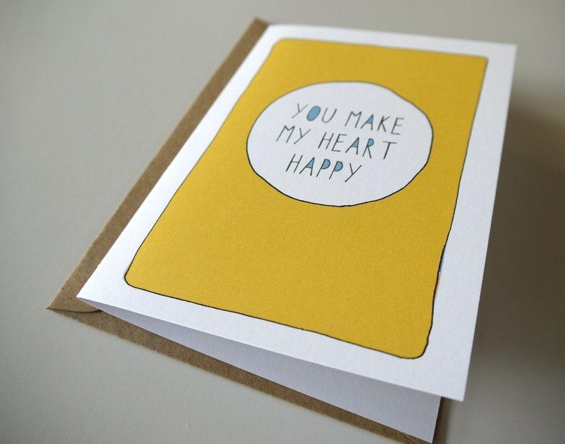 Love card Husband Birthday card You make my heart happy Funny Anniversary card