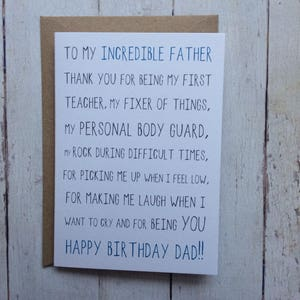 Dad Birthday Card Funny For Dads Father Daughter To Son