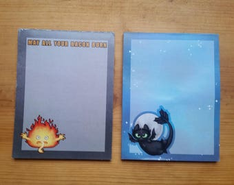 Calcifer & Toothless Memo Pads