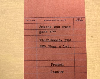 Truman Capote Typewriter Quote on Vintage Due Date Card