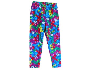 Pink Leggings Bright Girls Night Colorful Neon Visibility Kids Leggings Gift Pink Boys Childrens Pants Fun