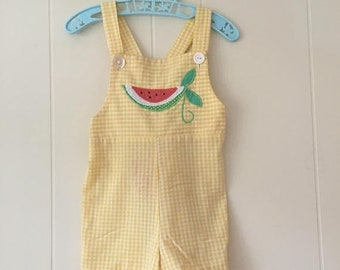 15% OFF - 1960's yellow & white gingham shortalls romper with watermelon - size 3t