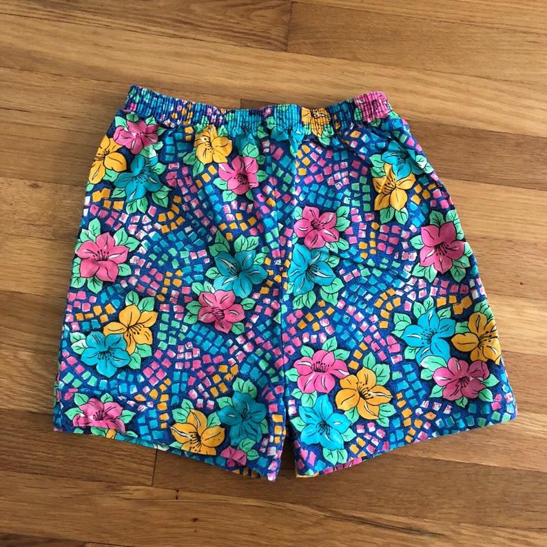 girls size 14 1980/'s bright high waist floral print shorts