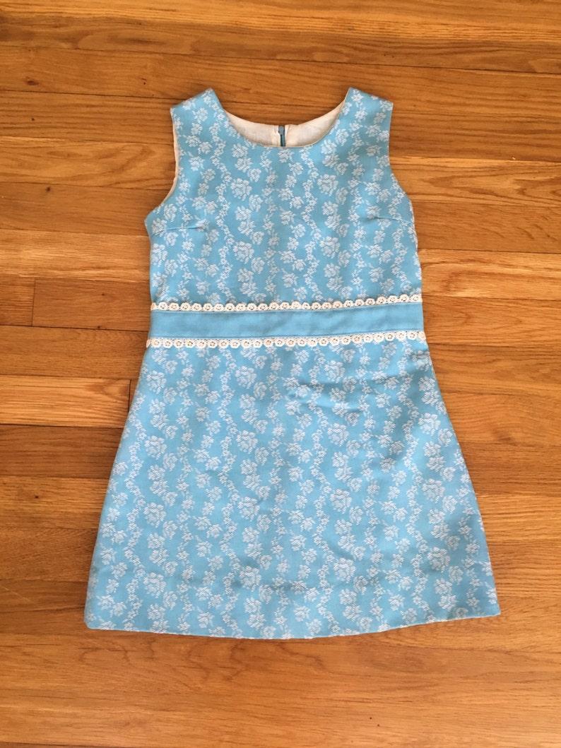 9c2abbc03 1960's peaches 'n cream baby blue & white floral | Etsy