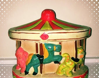 15% OFF - 1972 berrie's neon day glow carousel coin bank